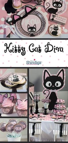 Make her party absolutely PURRRR-FECT with our Kitty Cat Diva Party Supplies. This adorable theme combines the colors of pale pink and black with kitties, leopard print and polka dots. and like OMG! get some yourself some pawtastic adorable cat shirts, cat socks, and other cat apparel by tapping the pin!