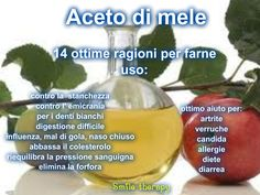 Poco costoso ed innocuo, l'aceto di mele e' ottimo per lenire alcuni disturbi comuni . Uno o due cucchiaini o cuhhiai dil...