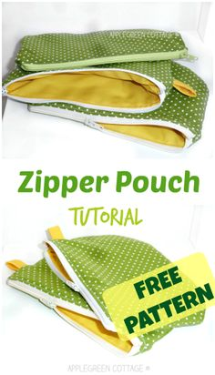 Zipper pouch tutorial (free) - How cute is that? A perfect beginner sewing project. Easy and quick to sew, this will be a great holiday gift - just thinking of all the color combinations I can choose!