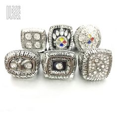 2306931c4 Drop shipping 6 pcs set 1974 1975 1978 1979 2005 2008 Pittsburgh Steelers  replica Super Bowl Silvery Championship Ring for Fans-in Rings from Jewelry  ...
