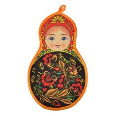 """Russian Doll Shaped Pot Holder - $6.99 This cute Kitchen accessory is a hang-able pot holder from Russia in the shape of the beloved matryoshka nesting doll. The hand-made potholder is Approximately 11 1/2"""" long and 7"""" wide. What a fun and unique way to brighten up your kitchen space!"""