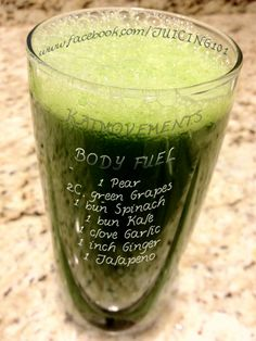 Juicing Vegetables and Fruit   BODY FUEL:   1 Pear  2 cups Green Grapes  1 bundle Spinach  1 bundle Kale  1 Garlic clove  1 inch Ginger  1 Jalapeno         Juicing Vegetables & Fruit  CRANBERRY JUICE COCKTAIL is a delicious recipe as is--or used as a base in other juices to smooth out bitter green tastes!   http://www.facebook.com/JUICING101  http://pinterest.com/katmovements/