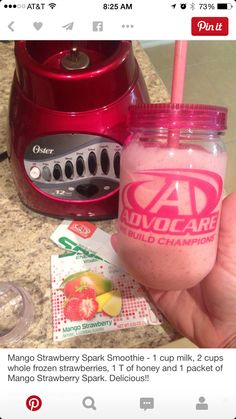 Mango Strawberry Spark Smoothie 1 cup milk/milk alternative 2 cups whole frozen strawberries 1 T of honey 1 packet of Advocare Mango Strawberry Spark Blend. Advocare Diet, Advocare Cleanse, Advocare 24 Day Challenge, Advocare Recipes, Juice Cleanse, Advocare Shakes, Advocare Products, Smoothie Drinks, Healthy Smoothies