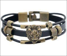 Leather Lion Men Bracelet