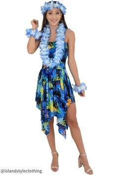 568bb1d5744 Ladies Blue Sunset Dress with Lei Set - Soft rayon. Perfect for Luau, Cruise