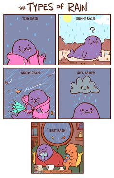 """catscafecomics: """"The types of rain. Which type do you enjoy? Cute Funny Animals, Funny Cute, Hilarious, Cute Comics, Funny Comics, 4 Panel Life, Funny Doodles, Funny Comic Strips, Comics Story"""