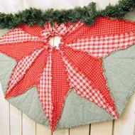 Poinsettia Handmade Homespun Ragged Christmas Tree Skirt