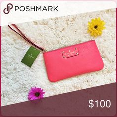 Kate Spade Wristlet Adorable Wristlet NWT!  The color is called hot rose.  Has gold lettering and gold spade.  Measures 8 1/2 by 4 1/2 in. kate spade Bags Clutches & Wristlets