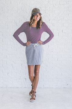 Our No Complaints Gray Skirt is the perfect comfy-chic piece to add to your closet! Made out of a terry/sweat pant material, this skirt is perfect for pairing with all your favorite tees!