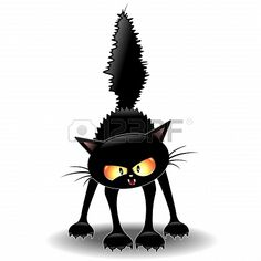 Funny Fierce Black Cat Cartoon