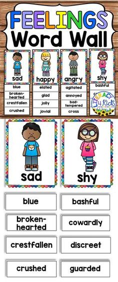 Feelings Word Wall posters - Great for a writing center - or for having students brainstorm synonyms