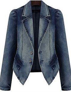 2016 Autumn Women Jeans Jacket Patches Lined Plus Size Slim Long Sleeve Winter Coat Women Denim Jacket Jaqueta Blazer Jeans, Denim Jeans, Look Blazer, Blazer Jacket, Denim Suit, Pink Jacket, Coats For Women, Jackets For Women, Clothes For Women