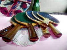 6 Vintage Ping Pong Paddles, Mixed Colors, Wooden Handles, Old Table Tennis Paddles $20