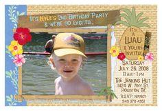 surfer kids birthday invitation   Bi B Hawaiian Luau Photo Birthday Party Invitation