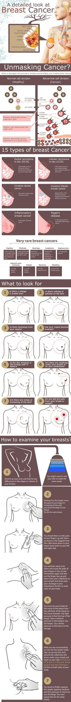 This infographic talks about the 15 types of breast cancer and also shows what to look out for as well as showing how to examine your breasts yourself Source: www.infographicjournal.com