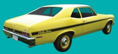 A yellow '71 Rally Nova is the car my folks had when I was growing up. Fast, light, and a gas-guzzler, I'm sure. The sight of a Nova still makes me giddy today, though. @Philip Nixon