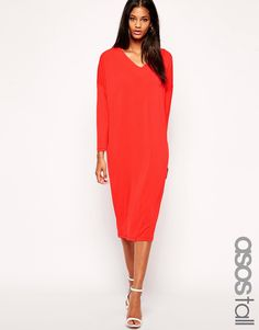 Kleid von ASOS Collection aus kreppartigem Polyester V-Ausschnitt Fledermausärmel normale Passform