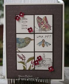 handmade card ... two by three inchie block ... like the various vintage look images ... gray and vanilla ... Stampin' Up!