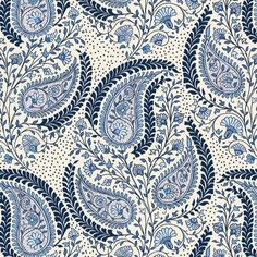 In the Beginnig Fabrics Cat Centric Ivory Blue Floral Paisley   Fabric