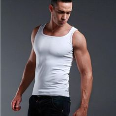 Solid color vest Cotton tank top men casual brand clothing gym clothing singlet…
