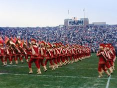 This year, we're celebrating 40 years of performing at every USC vs. Notre Dame game, home or away. The streak started at home in Pictured is the first trip to South Bend in Dame Game, Usc Athletics, Marching Band Humor, Rice University, Big Building, Grant Park, Usc Trojans, Bus Travel, Fighting Irish