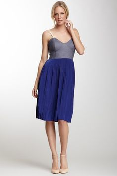 Velvet Heart Pleated Spaghetti Strap Dress :: would be so figure with a belt tip match the shoes