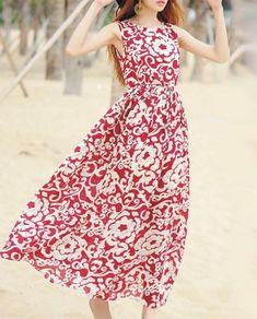 Fashion Bohemia Floral Thick Straps Sleeveless Maxi Dress – oshoplive