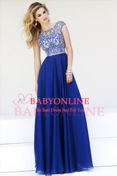 Vestidos De Gala 2014 New Custom Made Cap Sleeve Boat Neck Royal Blue Beaded Prom Dresses Long To Party abendkleider