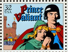 """""""Prince Valiant,"""" created by Hal Foster (1892-1982). This postage stamp is 1 of 20 in the USPS Comic Strip Classics series of 1995."""