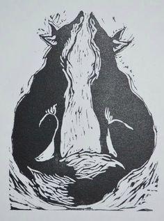 Jackie Morris Inari Foxes Linocut Print
