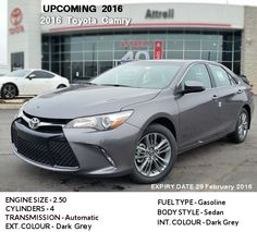The Upcoming 2016 Toyota Camry with SE models available by Dealer in Toronto.