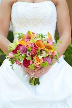 www.poshfloristinc.com Posh Shoppe Florist Bright Wedding Bouquet