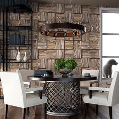 3D Stereoscopic Wood Grain Square Geometric Wallpaper PVC Waterproof Living Room Restaurant Cafe Vinyl Wallpaper For Walls Roll
