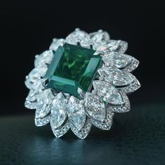 Chopard. Via Caroline Scheufele (@chopardbycaroline) on Instagram: Emerald and Diamond Ring.