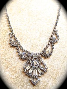 Vintage Rhinestone Statement Necklace  Bridal by JNPVintageJewelry
