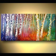 Acrylic Painting Silver Birch Forest Colorful: