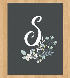 Flower & Initial Calligraphy Art Print | Personalize bare walls in your space with this springy monogra... | Posters
