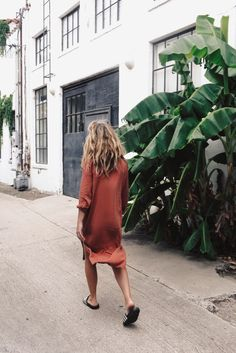 Side slit dress / rust