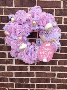 A personal favorite from my Etsy shop https://www.etsy.com/listing/501512332/happy-easter-yall-wreath