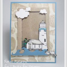 """Della on Instagram: """"LOVE this lighthouse card by DT member Renee #ibfs #ibrakeforstamps #cardmaking"""" Handmade Stamps, Shaker Cards, Happy Saturday, I Card, Lighthouse, Thank You Cards, Card Making, Paper Crafts, Creative"""