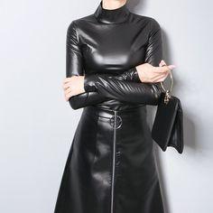 Blanding Vegan Leather Long Sleeve Turtleneck