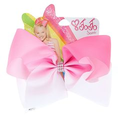 Get the ultimate dancing hair accessory with this super fun large pink & white ombre colored signature hair bow from JoJo Siwa collection. The bow has been attached to a metal salon clip making it really easy to wear and has been covered in rhinestones so you will sparkle from head to toe. <UL><LI>JoJo Siwa collection <LI>Large white & pink ombre design <LI>Metal salon clip</LI&...