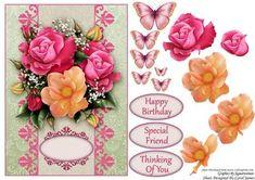 Card Front Rose Bouquet