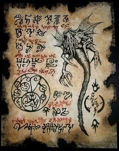 Items similar to Cthulhu Necronomicon Fragment larp YOG SOTHOTH occult outsider magick dark art on Etsy Hp Lovecraft, Lovecraft Cthulhu, Larp, Cthulhu Mythos, Cthulhu Art, Necronomicon Lovecraft, Eldritch Horror, Lovecraftian Horror, Ange Demon