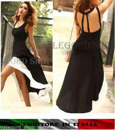 Abito-elegante-dress-vestito-bianco-nero-cerimonia-ASIMMETRICO-moda-profilato