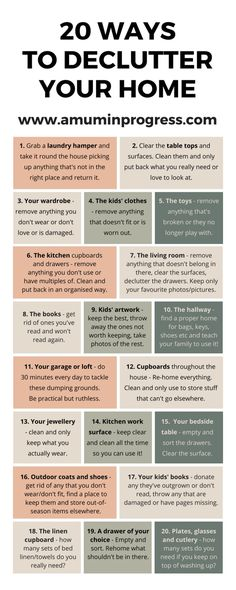 20 ways to declutter your home infographic. Check out this post on how to declutter your home. Decluttering tips. Home organisation. Tips on how to simplify your home. Simplify your life. Konmari, Declutter Your Home, Organizing Your Home, Declutter Bedroom, How To Organize Home, How To Simplify, Organizing Papers, Clean Bedroom, Organize Your Life