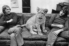 On the couch with Anthony and John Two men, Anthony Bourke and John Rendall, found him there and immediately fell in love with him and determined to buy him. They scraped together the money and brought the little lion home when he was only a few weeks old. They named him Christian.