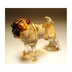Glass Pug - Blown glass dog Pug figurine