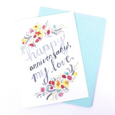 Happy Anniversary, My Love Watercolor Card