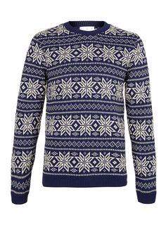 Navy Snowflake Jumper - available at Top Man! #Woking #Christmas #Shopping #Jumper #ChristmasJumperDay